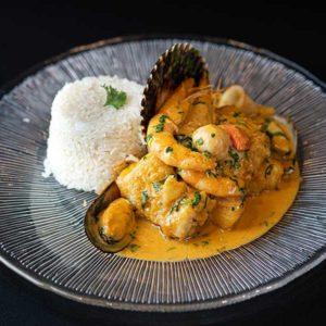 Pescado a lo macho. Restaurante peruano Inti de Oro Castellana.