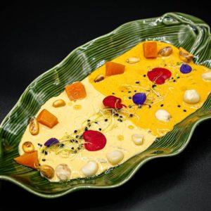 Tiradito bicolor. Restaurante peruano Inti de Oro Castellana.